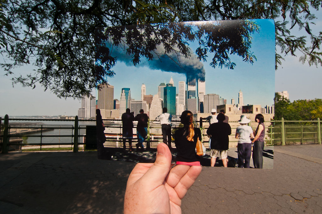 Crowd Watching the World Trade Center Burning